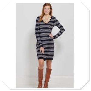 Vineyard Vines V-Neck Stripe Sweater Wool Dress